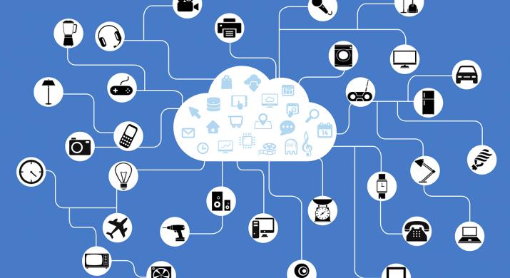 Nuvem conectando vários meios de comunicação representando o conceito de Internet das Coisas
