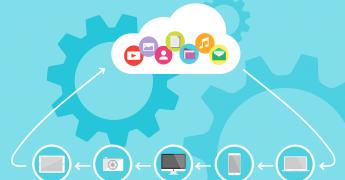 Nuvem armazenando informação, emails e dados, representando o cloud computing