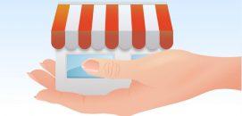 Ilustração de uma mão segurando uma casa, representando o modelo de negócios da microfranquia